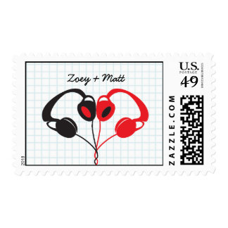 Hipster Headphones (Red/Black) Save the Date Postage Stamps