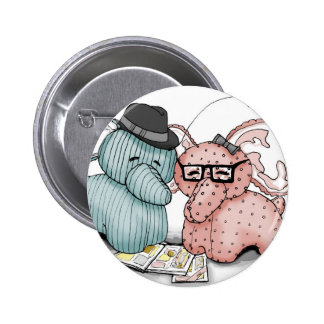 Hipster Hellephant Couple Button