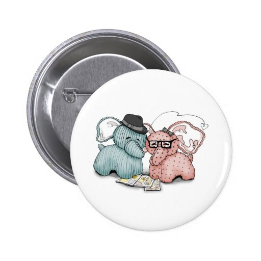 Hipster Hellephant Couple Pins