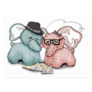 Hipster Hellephant Couple Postcard