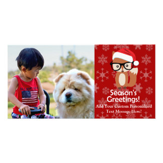 Hipster Holiday Fox Cute Animal Christmas Photo Card
