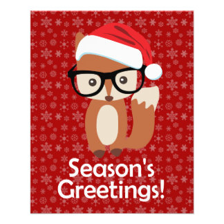 Hipster Holiday Fox Glasses Cute Animal Christmas Flyer