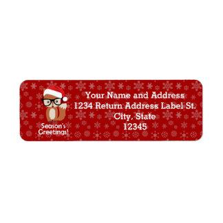 Hipster Holiday Fox Glasses Cute Animal Christmas Return Address Label