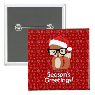 Hipster Holiday Fox Glasses Cute Animal Christmas Pinback Button