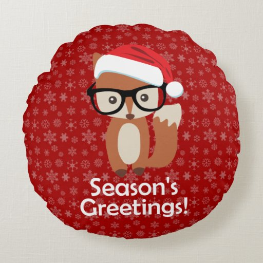 Hipster Holiday Fox Glasses Cute Animal Christmas Round Pillow Zazzle
