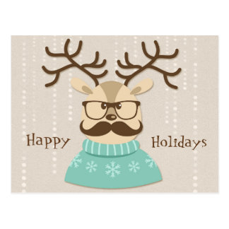 Hipster Holiday Reindeer Postcard