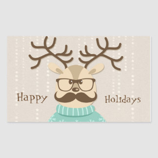 Hipster Holiday Reindeer Rectangular Sticker