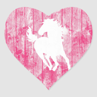 Hipster Horse & Rustic Pink Wood Heart Sticker