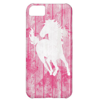 Hipster Horse & Rustic Pink Wood iPhone 5C Cover