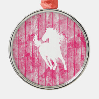 Hipster Horse & Rustic Pink Wood Metal Ornament