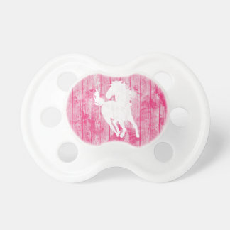 Hipster Horse & Rustic Pink Wood Pacifier