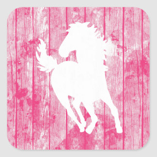 Hipster Horse & Rustic Pink Wood Square Sticker