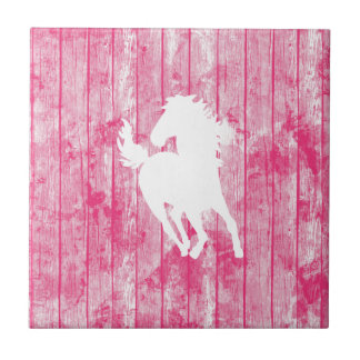 Hipster Horse & Rustic Pink Wood Tile