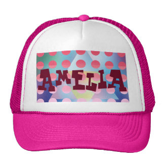 Hipster,hot pink polka dot,graphic,pattern,happy trucker hat