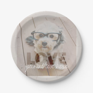Hipster Instagram Photo Art - Love Color Overlay Paper Plate