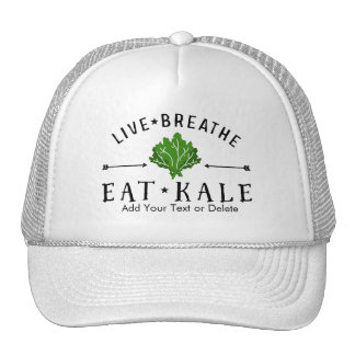 Hipster Kale Live Breathe Eat Kale Custom Trucker Hat