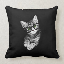 Hipster Kitten & Glasses Cat Lover's Throw Pillow