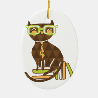 Hipster Kitty Ceramic Ornament