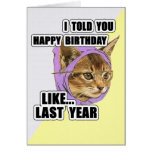 Hipster Kitty Deep Quote Happy Birthday Greeting Card