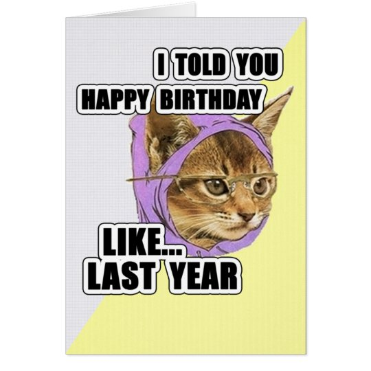 Hipster Kitty Deep Quote Happy Birthday Card – Hipster Birthday Cards
