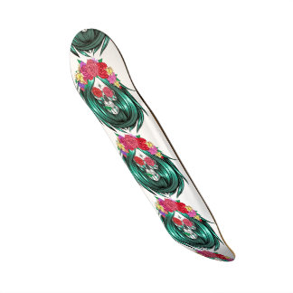 hipster lady skull,green hair,red roses,halloween, skateboard deck