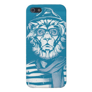 Hipster Lion Blue Cover For iPhone SE/5/5s