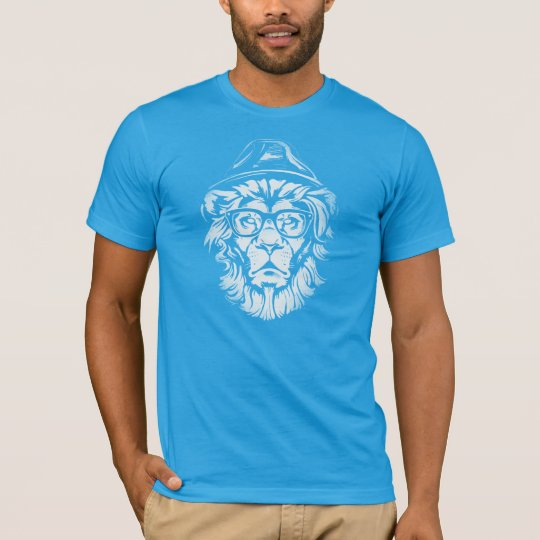 Hipster Lion Blue T-Shirt