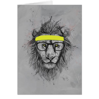 Hipster lion greeting cards