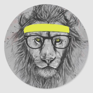 hipster lion classic round sticker