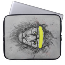 Hipster lion computer sleeve