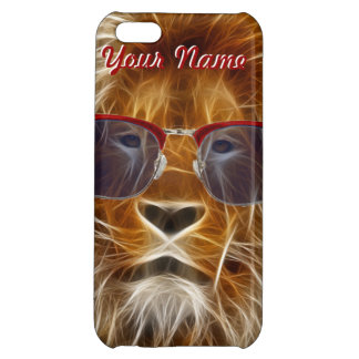 hipster lion in glasses fractal iphone case cover