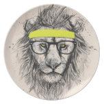 Hipster lion (light background) dinner plate