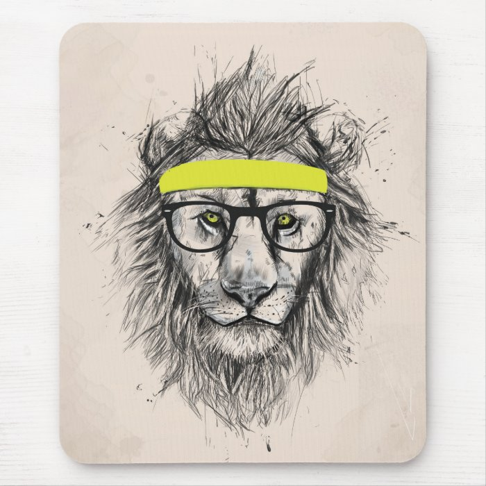 Hipster lion (light background) mouse pad