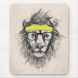 Hipster lion (light background) mousepads