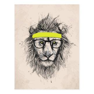 hipster lion (light background) post cards