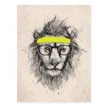 hipster lion (light background) postcard