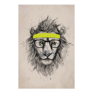 Hipster Lion (light Background) Poster at Zazzle