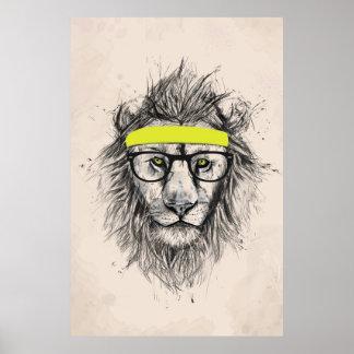 Hipster lion light background print