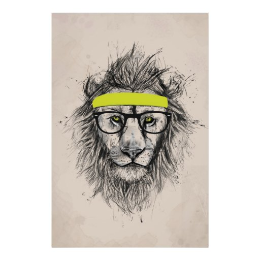 Hipster lion (light background) print