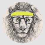 hipster lion (light background) classic round sticker