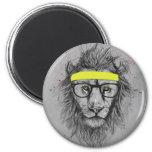 Hipster lion magnets
