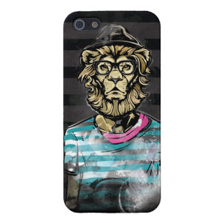 Hipster Lion on Stripe Case For iPhone SE/5/5s