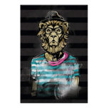 Hipster Lion on Stripe Poster