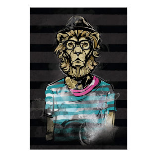 Hipster Lion On Stripe Poster at Zazzle