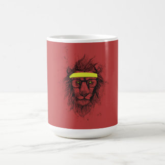 hipster lion (red) coffee mugs