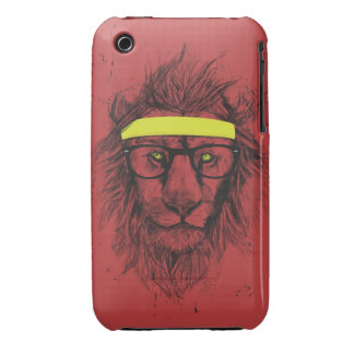 hipster lion (red) iPhone 3 case