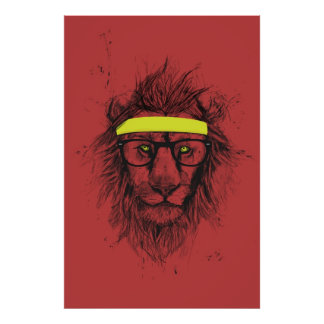 hipster lion (red) poster