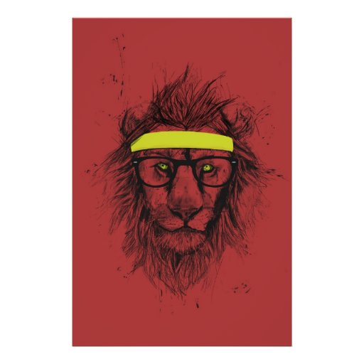 hipster lion (red) posters