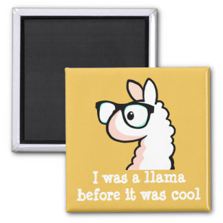 Hipster Llama 2 Inch Square Magnet
