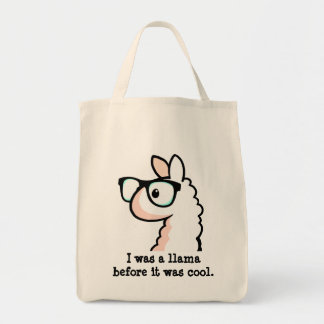 Hipster Llama Grocery Tote Bag